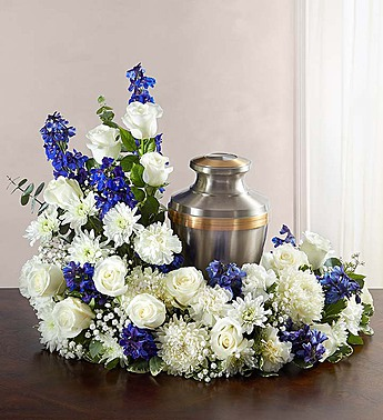 Blue & White Creamation Tribute