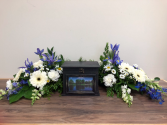 Blue & white fresh urn arrangement Urn arrangement