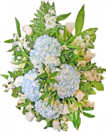 BLUE & WHITE FUNERAL SPRAY Funeral, Cremation or Memorial