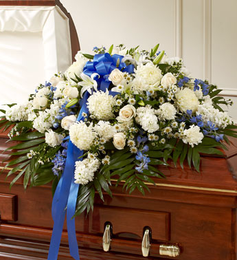 Blue & White Half Casket Cover Casket flowers