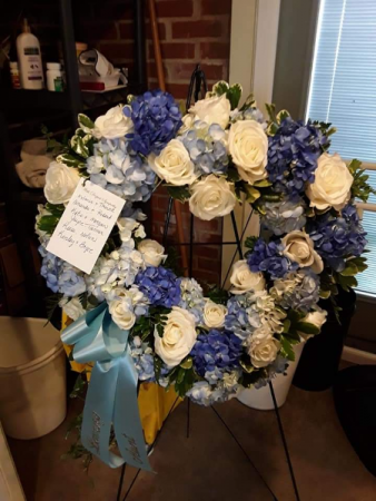 Blue & White Heart Wreath Standing Spray