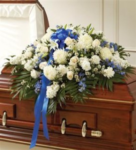 Blue & White Mixed Half Casket Cover Funeral in Crestview, FL | The Flower Basket Florist