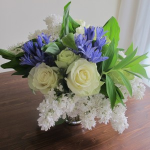 Blue & White Semi Compact Vase Arrangement Semi Compact Vase Arrangement in Brattleboro, VT | WINDHAM FLOWERS