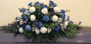 Blue, White & Silver Casket Spray  in Culpeper, VA | ENDLESS CREATIONS FLOWERS AND GIFTS