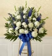 Blue & White Standing Basket Sympathy