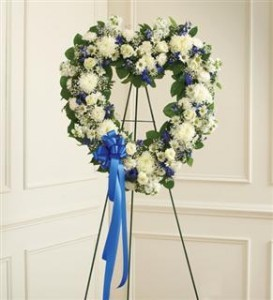 Blue & White Standing Open Heart  Funeral