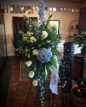 Blue & White Standing Spray Sympathy  in Greeley, CO | ERICKSON'S FLOWERS