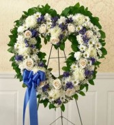 BLUE & WHITE STENDING OPEN HEART By family friends and business associates