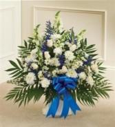 Blue & White Sympathy Floor Basket Funeral - Sympathy