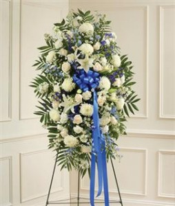 Blue & White Sympathy Standing Spray Funeral in Crestview, FL | The Flower Basket Florist