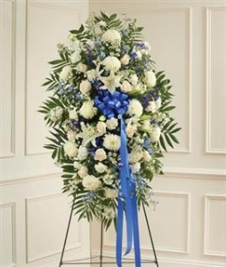 Blue & White Sympathy Standing Spray Funeral
