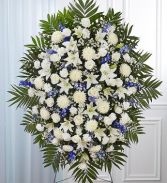 Blue & White Sympathy Standing Spray sympathy