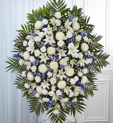 Blue & White Sympathy Standing Spray STANDING SPRAYS & WREATHS