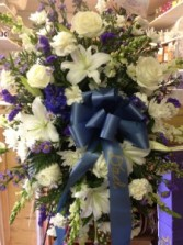 Blue & White Tranquility By The Sea Arrangment Funeral Flowers