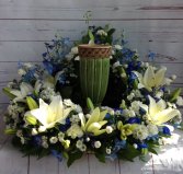 Blue & White Tribute Urn Ring Urn Ring