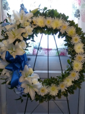 Blue & White Wreath Sympathy Flowers