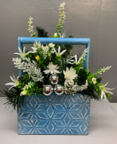 Blue wooden box with white silk silver balls Silk Arrangement (ARTIFICIAL)
