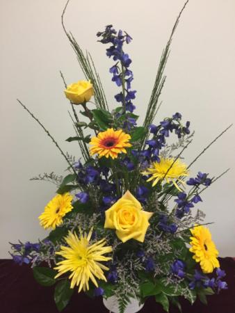 Blue & Yellow Fresh Arrangement