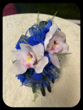 Blues and Whites Corsage