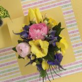 Blues and Yellows Corsage Corsage with Tulips Roses