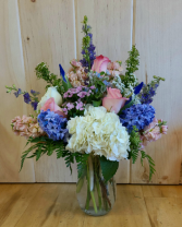 Blues & Pinks Designer's Choice Vased Arrangement