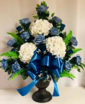 Blues Silk Funeral Arrangement