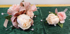 Blush and Bling Prom Corsage and Boutonniere Set in Las Vegas, NV | All In Bloom