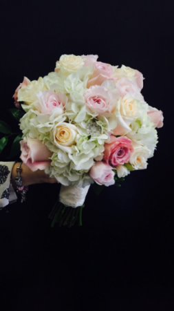 Blush and cream colored vintage wedding bouquet