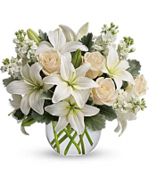 Blush And White Bowl Flower Arrangement