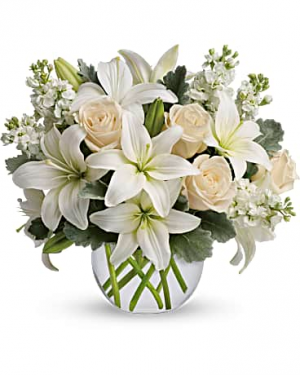 Blush And White Bowl Flower Arrangement in Tulsa, OK | THE WILD ORCHID FLORIST