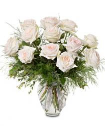 Blush And White Dozen Garden Rose Arrangement Roses