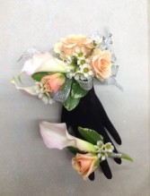 Blush Calla Lily and Rose Wrist Corsage