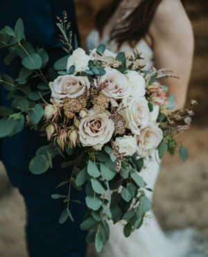Blush Cascading Bridal Bouquet in Tillamook, OR | ANDERSON FLORIST