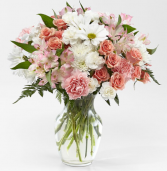 BLUSH CRUSH BOUQUET WHITE AND PINK FLOWERS