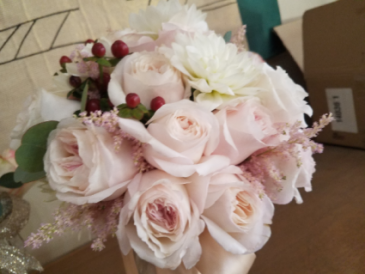 blush garden rose bouquet with pink astibe bride bouquet