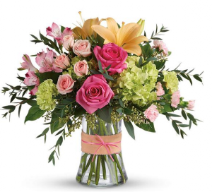 Blush Life Fresh Vase Arrangement in Selma, NC | SELMA FLOWER SHOP