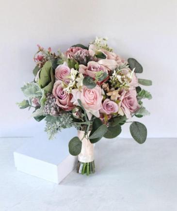 Blush mauve pink artificial bridal bouquet