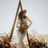 Blush to Rust Ombre Crescent Bridal Bouquet
