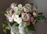 Blushing Bloom  Compote Arrangement