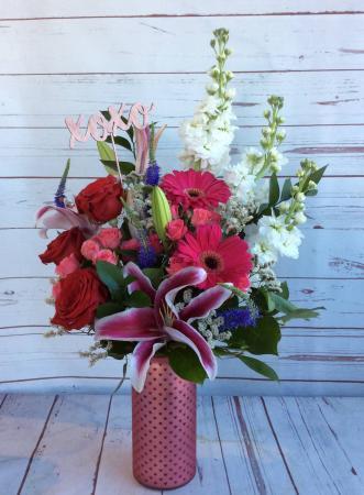 Blushing Hearts Vase