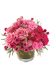 Blushing Love Cylinder vase with shades of hot pink and mauve