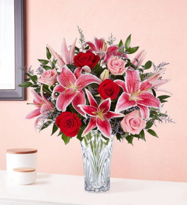 Blushing Rose and Lily Marquis Vase