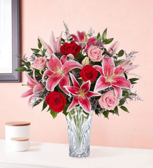 Blushing Rose and Lily Small Marquis Vase in Springfield, MO | FLOWERAMA #226