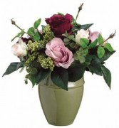 Blushing Roses Bouquet-SILK BOTANICAL