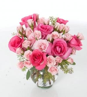 Blushing Vase Arrangement in Northport, NY   Hengstenberg's Florist
