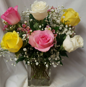 6 Mixed Roses arranged in a Vase with filler! (Color of roses may vary and filler type)