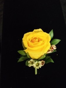 bo 1 yellow rose boutonniere with waxflower boutonniere - Garden Rose Boutonniere