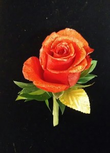 BO-6 Rose with Gold Glitter Accent Boutonniere