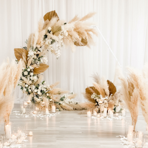 Bohemian Pampas Arch Backdrop Ceremony Flowers in Port Dover, ON   Upsy Daisy Floral Studio