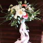 Boho Blush Garden Wedding Bouquet, Hand tied